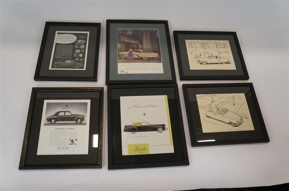 Addendum Item - Lot of six framed vintage automotive lithographs and advertisements. - Front 3/4 - 183187