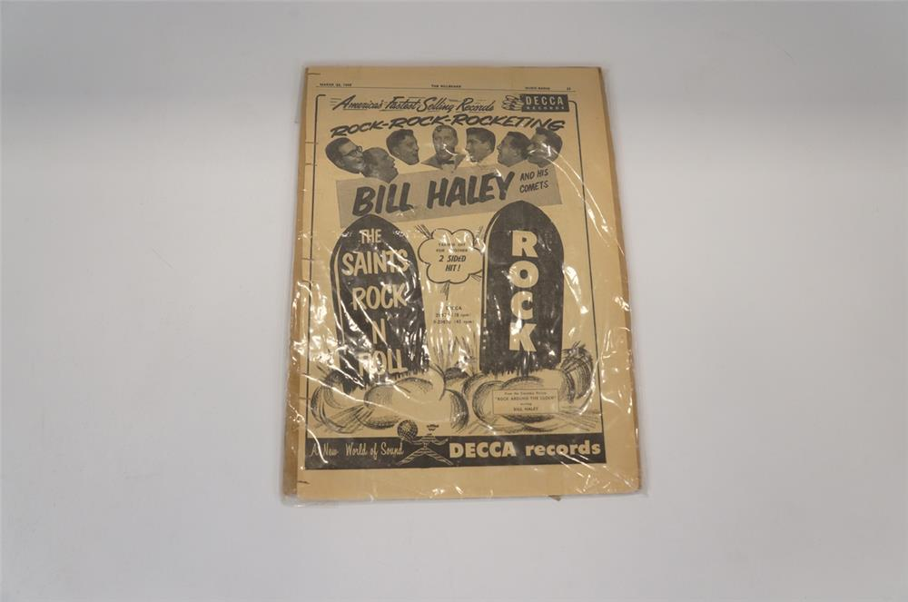 "Addendum Item - Original 1950's Bill Haley and the Comets Decca Records ""Rock"" song release advertisement. - Front 3/4 - 183188"