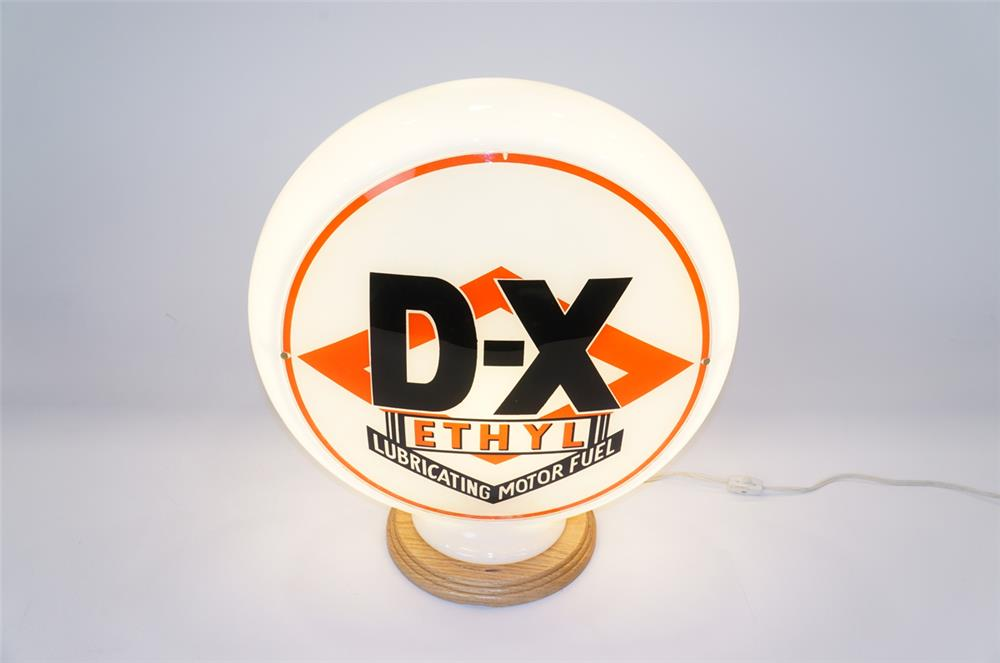 Addendum Item - 1930's DX Ethyl Lubricating Gasoline narrow bodied gas pump globe.  Condition: Display: Excellent+  Reverse: Very Good+ - Front 3/4 - 183189