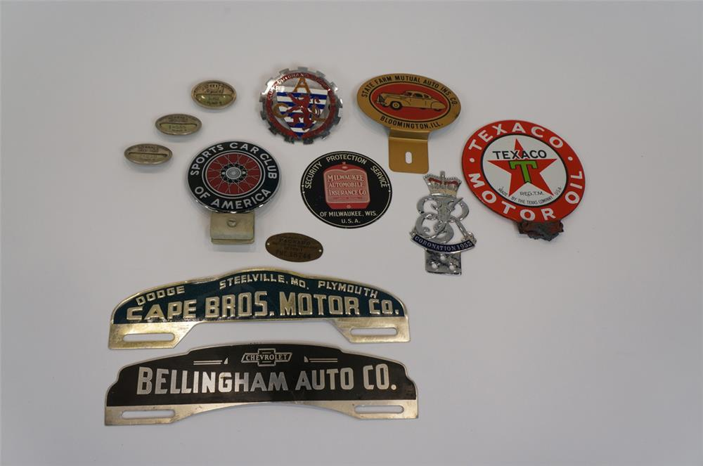 Addendum Item - Lot of vintage license plate attachment signs, 1930's Texaco Motor Oil lubester plate, and1930's  Fisher Body flint plant badges. - Front 3/4 - 183194