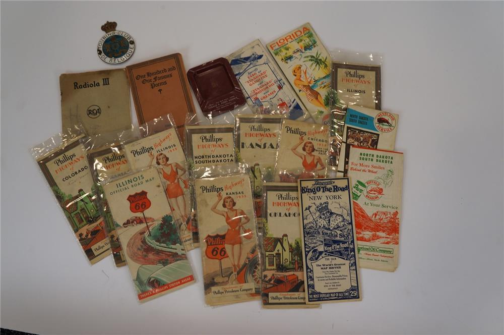 Addendum Item - Large lot of vintage 1930's Phillips 66 road maps, Westland Oil maps, porcelain Belgium license plate attachment sign and more. - Front 3/4 - 183196