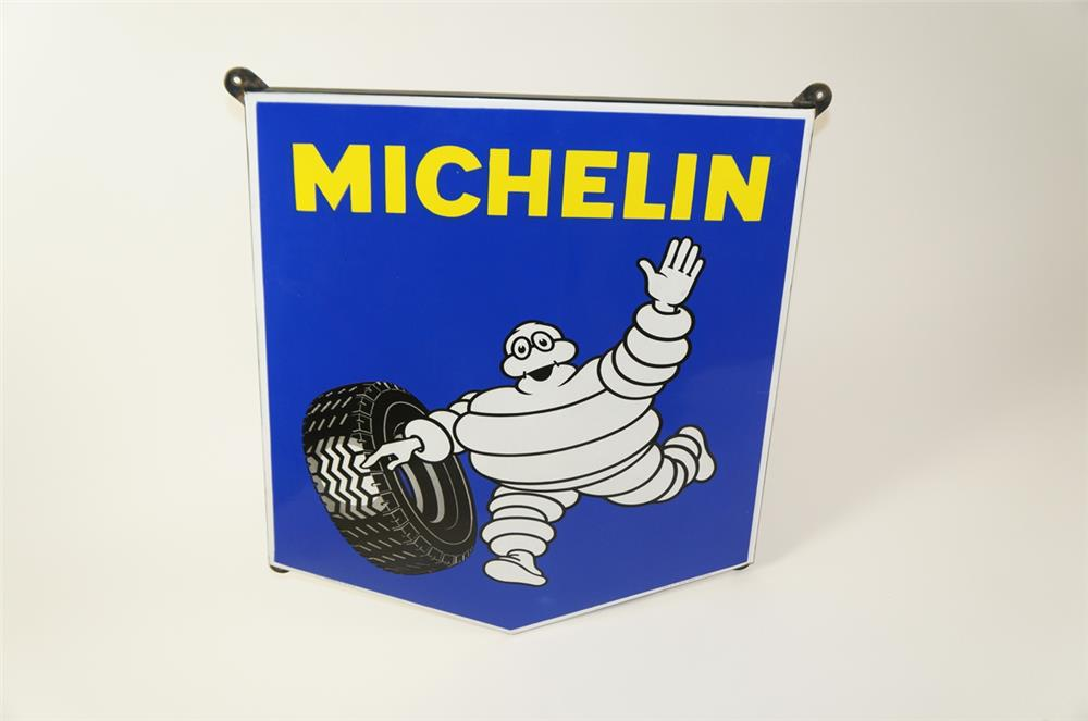 Scarce 1950s Michelin Tires single-sided porcelain automotive garage sign - Front 3/4 - 184479