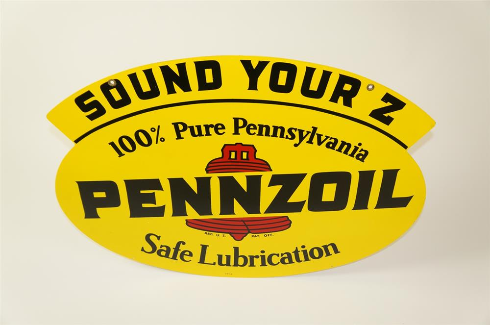 N.O.S. Pennzoil Sound Your Z double-sided tin automotive garage sign with bell logo. - Front 3/4 - 184482