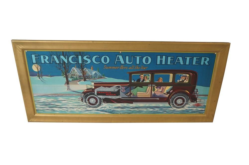 Lot #5866.2 N.O.S. late 1920s Francisco Auto Heater single-sided self-framed tin automotive garage sign with wonderful period sedan graphics.