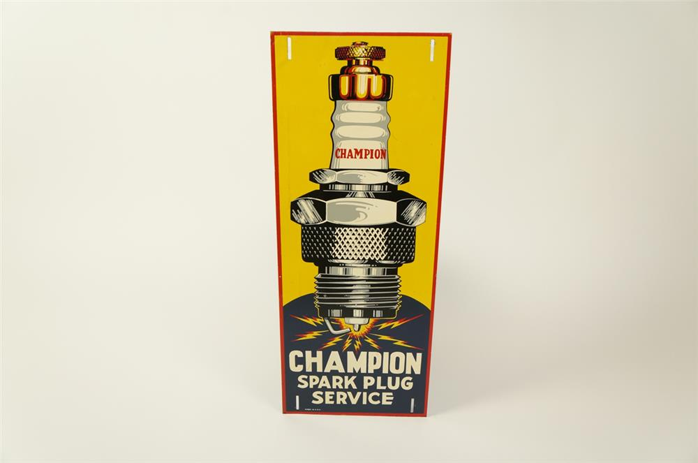 NOS 1930s Champion Spark Plugs single-sided tin automotive garage sign with killer spark plug graphic. - Front 3/4 - 184488