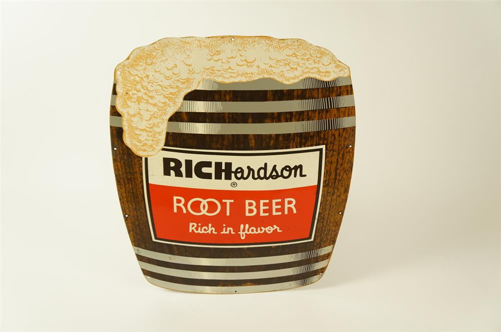 Fantastic 1950s Richardson Root Beer single-sided die-cut tin barrel-shaped soda fountain sign - Front 3/4 - 184489