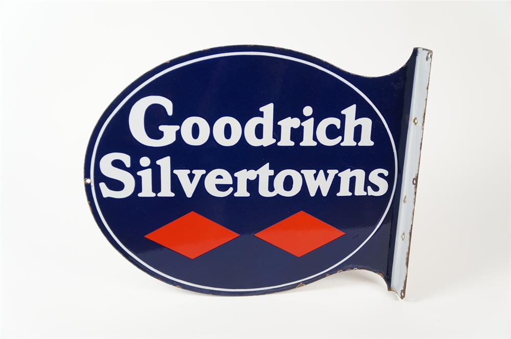 Superb 1930s Goodrich Silvertowns double-sided porcelain automotive garage flange sign. - Front 3/4 - 184490
