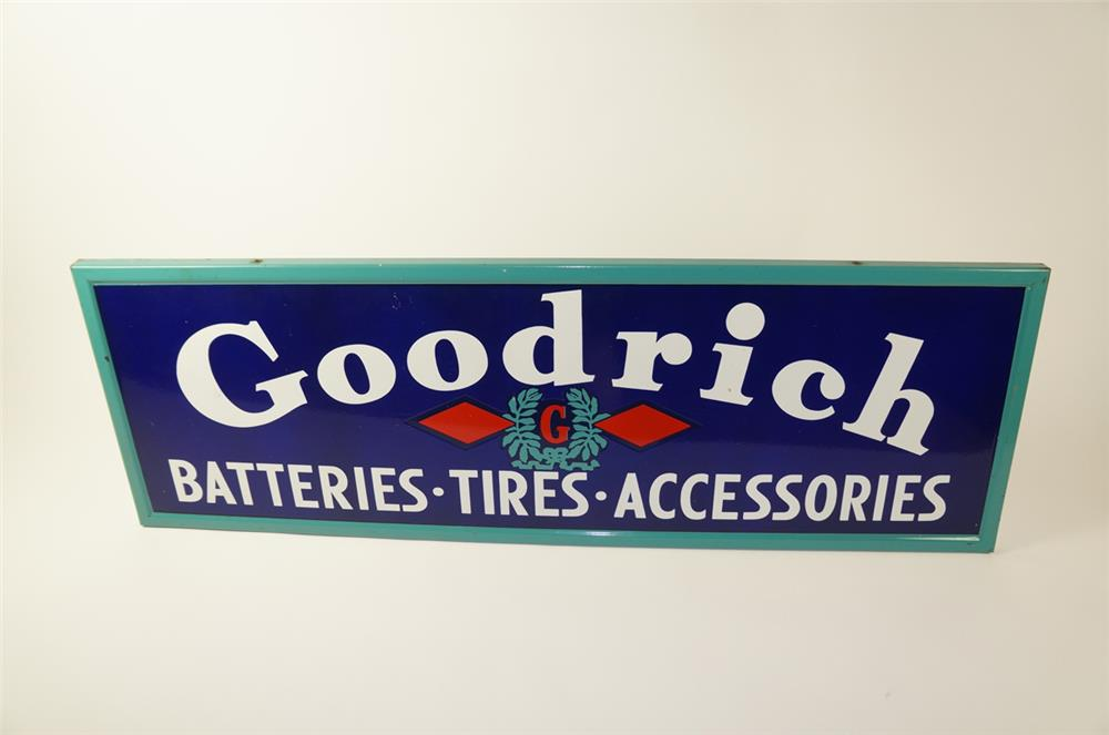 Fabulous 1930s-40s Goodrich Batteries-Tires-Accessories single-sided porcelain self-framed automotive garage sign. - Front 3/4 - 184497