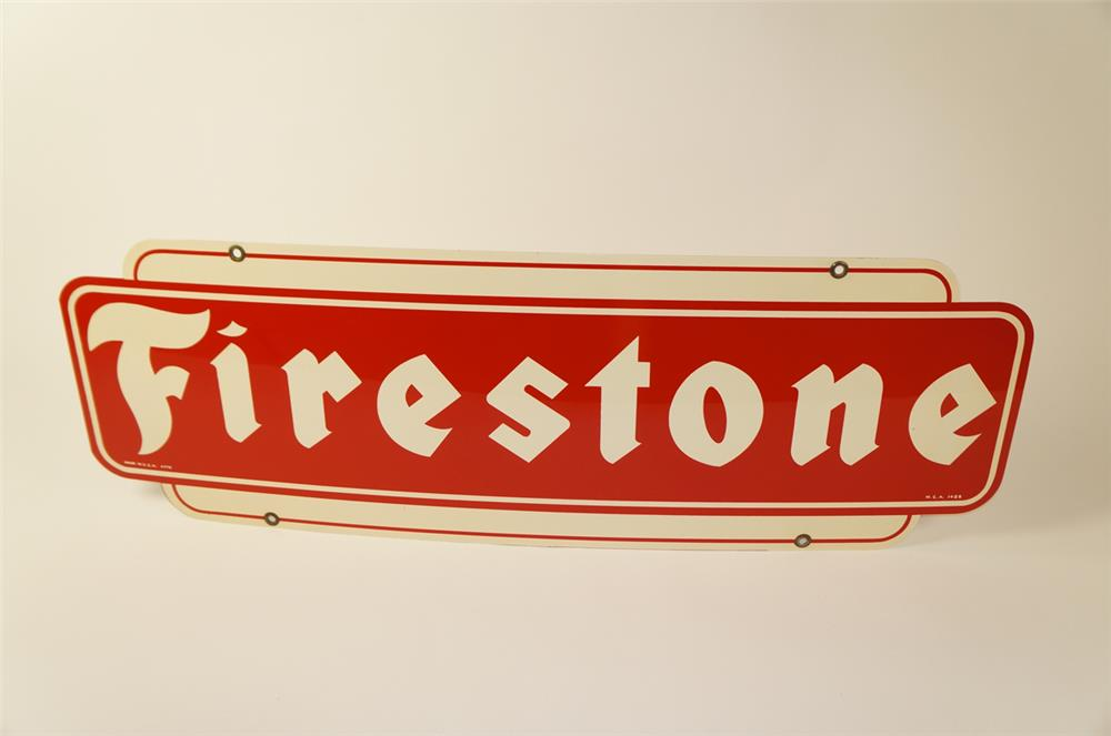 Choice Firestone Tires double-sided tin automotive garage sign. - Front 3/4 - 184499
