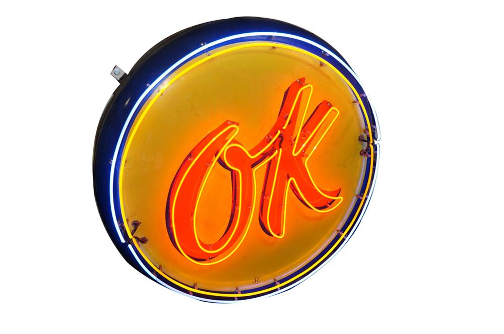 Very cool 1950s Chevrolet OK Used Cars three-dimensional single-sided porcelain button-shaped neon sign. - Front 3/4 - 184500