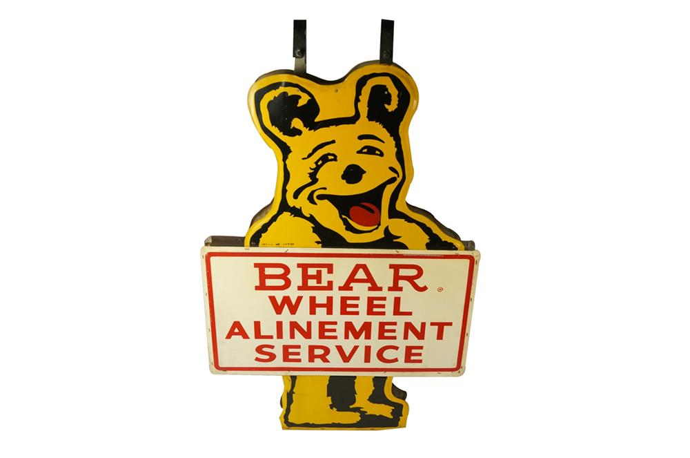 Very neat Bear Wheel Alinement Service double-sided die-cut bear-shaped automotive garage sign with original hangers. - Front 3/4 - 184501