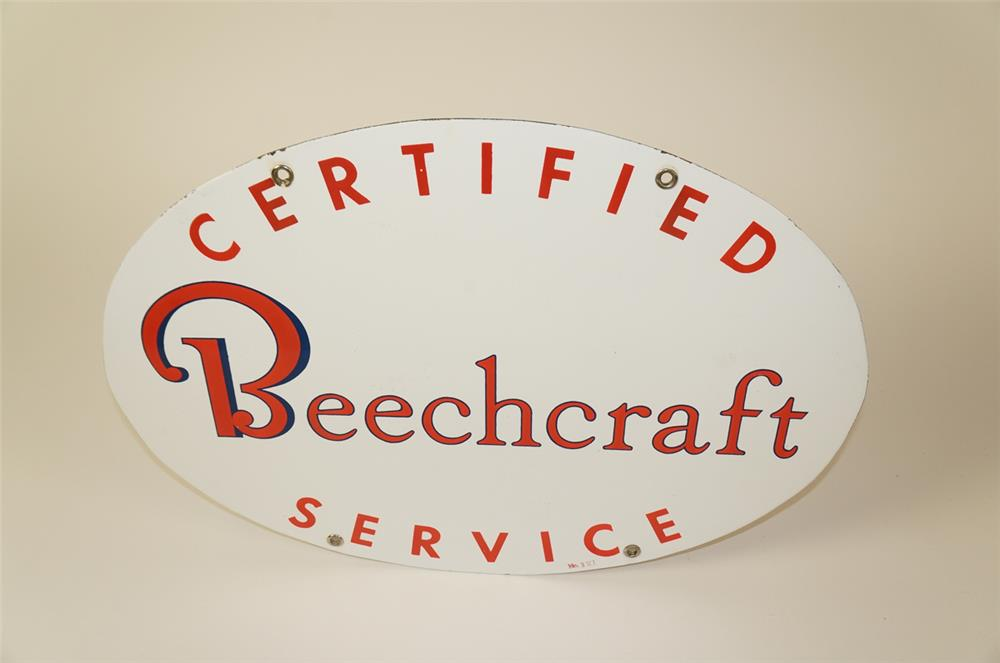 Highly desirable 1950s Certified Beechcraft Service double-sided porcelain airport maintenance hanger sign. - Front 3/4 - 184505