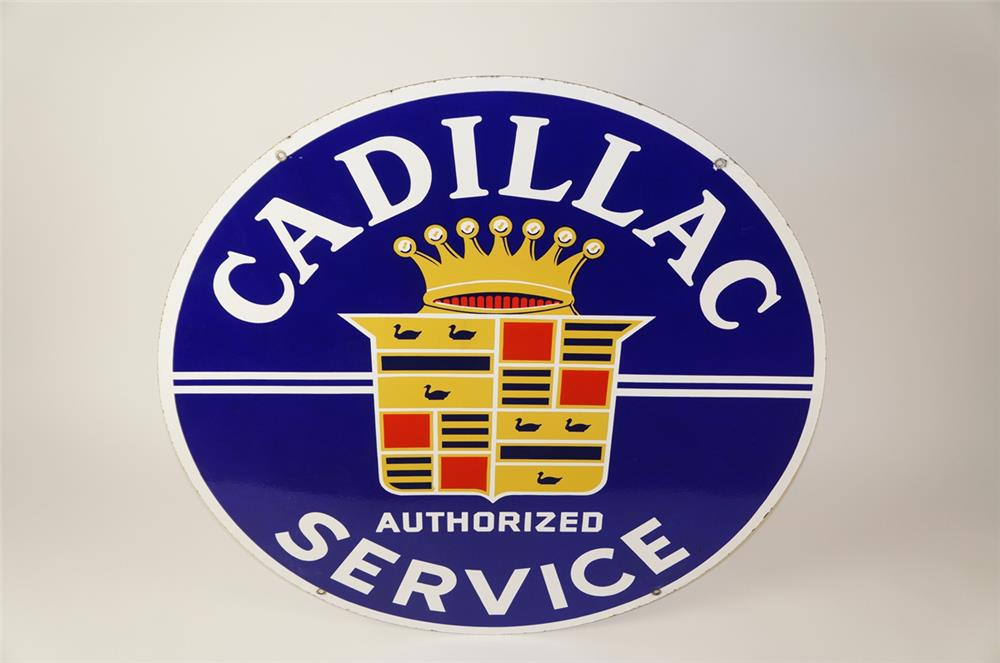 Lot #5865.2 Superlative 1940s-50s Cadillac Authorized Service double-sided porcelain dealership sign with Cadillac Crest logo.