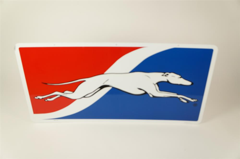 NOS Greyhound Bus Lines double-sided tin depot sign found in the original box! - Front 3/4 - 184507