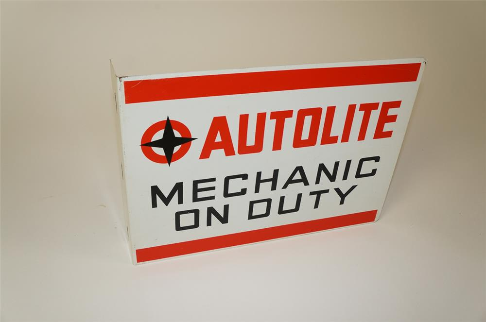 """Unusual 1960s Ford AutoLite """"Mechanic on Duty"""" double-sided tin flange sign. - Front 3/4 - 184508"""