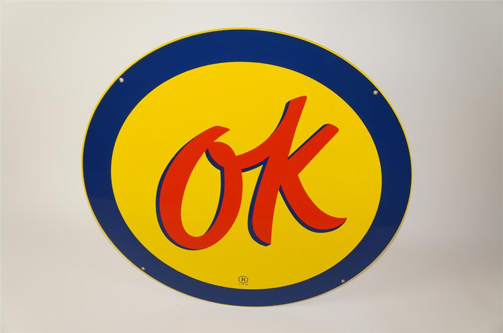 NOS 1950s Chevrolet OK Used Cars single-sided porcelain auto-dealership sales lot sign. - Front 3/4 - 184510