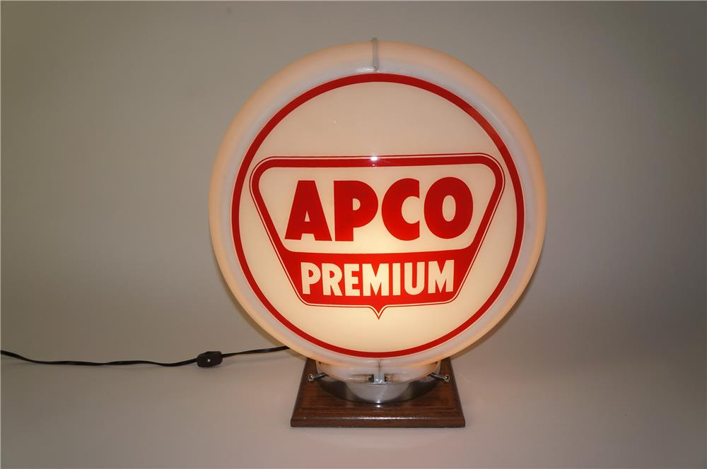 1950s Apco Premium Gasoline gas pump globe in a Capcolite body. - Front 3/4 - 184555