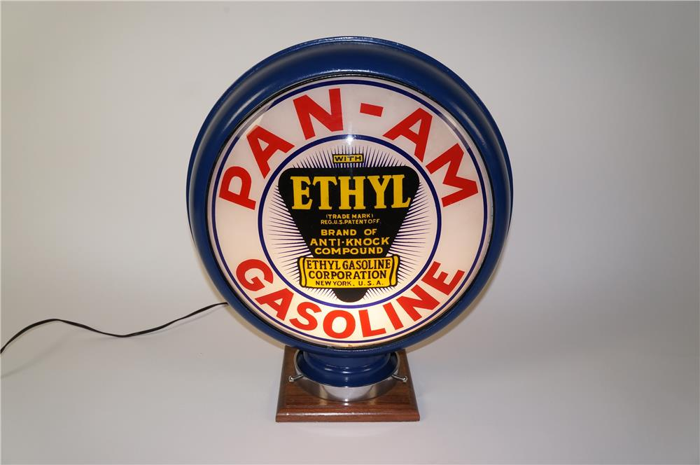 Killer 1930s Pan-Am Gasoline with Ethyl burst metal bodied gas pump globe. - Front 3/4 - 184557
