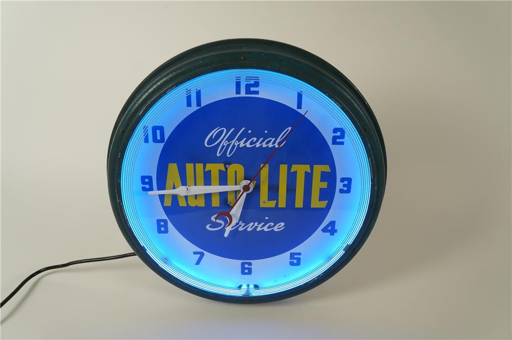 Beautiful all original 1940s Ford Auto-Lite Service neon automotive garage clock. - Front 3/4 - 184558