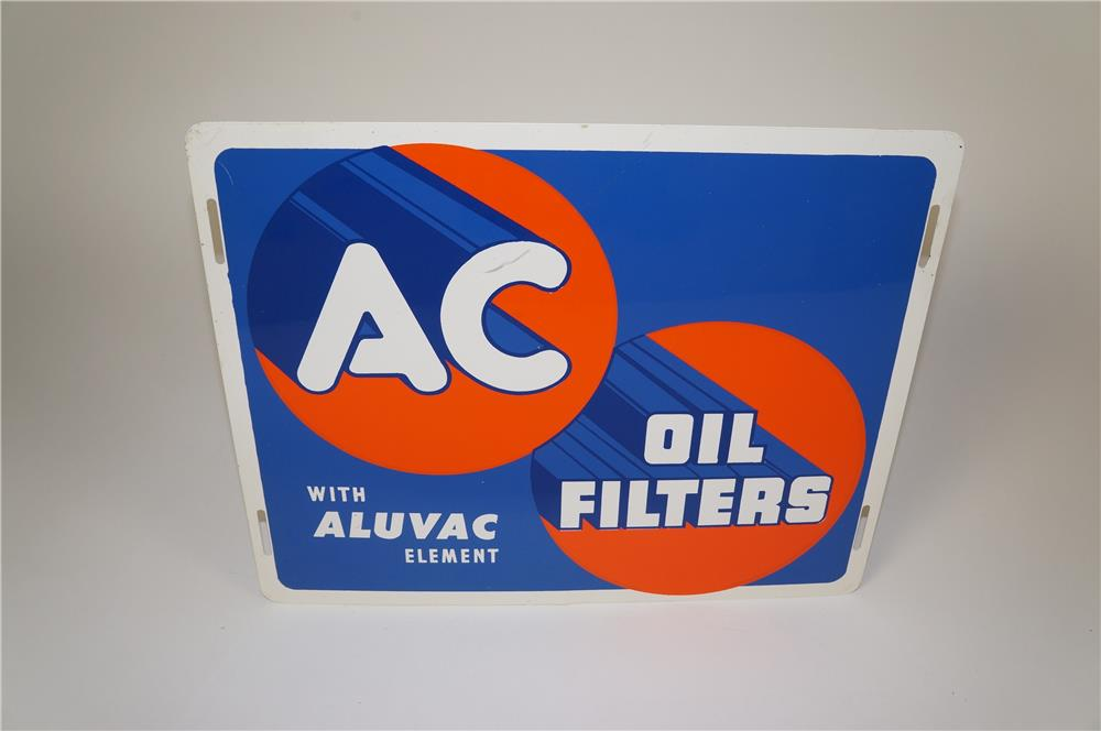 NOS 1940s AC Oil Filers with Aluvac Element single-sided tin automotive garage sign. - Front 3/4 - 184562