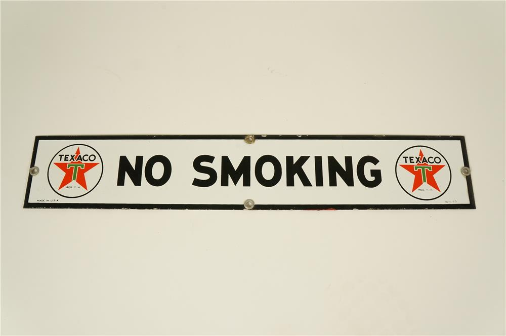 "1953 Texaco Oil ""No Smoking"" single-sided porcelain fuel island sign with period Texaco Star logos. - Front 3/4 - 184564"