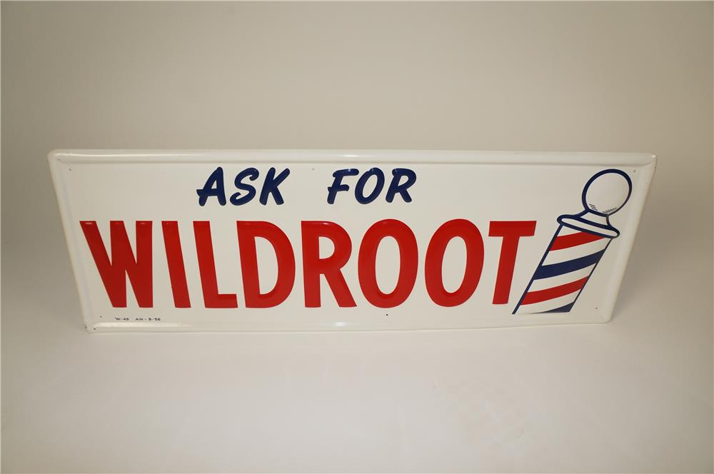 NOS 1956 Ask for Wildroot Hair Tonic barber shop embossed tin sign with period barber pole logo. - Front 3/4 - 184568