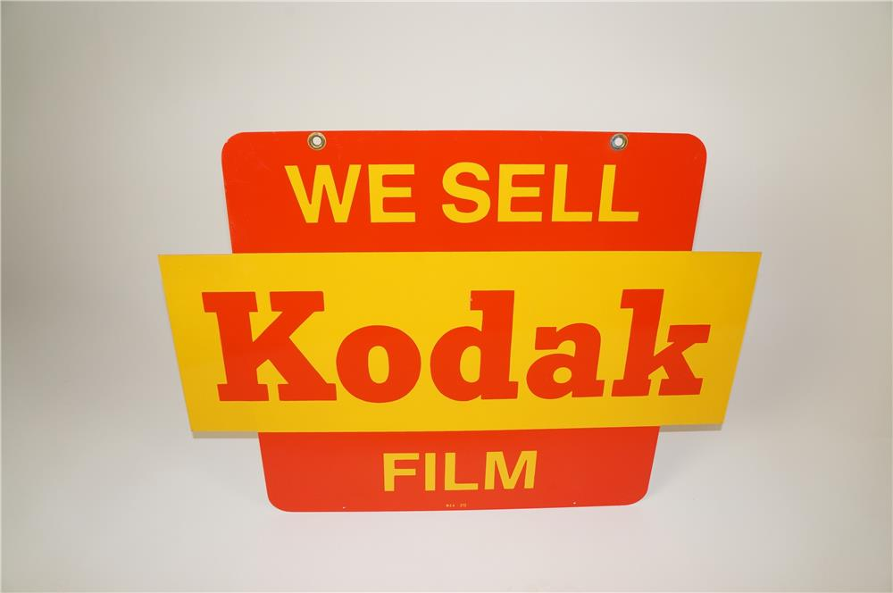 NOS 1950s-60s We Sell Kodak Film double-sided tin service station/general store sign. - Front 3/4 - 184569