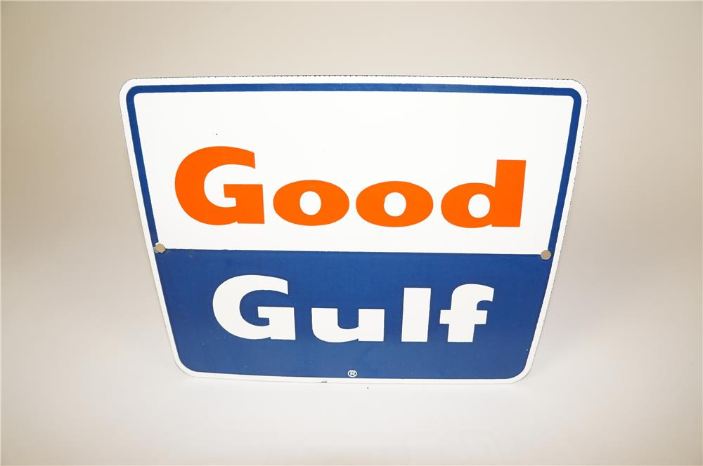 Late 1950's-early 60s Good Gulf Gasoline single-sided porcelain pump plate sign. - Front 3/4 - 184571