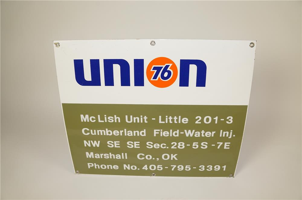 Union 76 Oil Company porcelain oil well sign. Appears to have never been used. - Front 3/4 - 184576