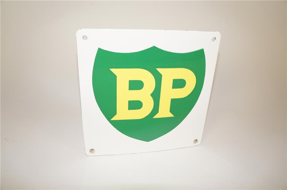 Choice 1950s-60s British Petroleum single-sided porcelain pump plate sign with shield logo. - Front 3/4 - 184577
