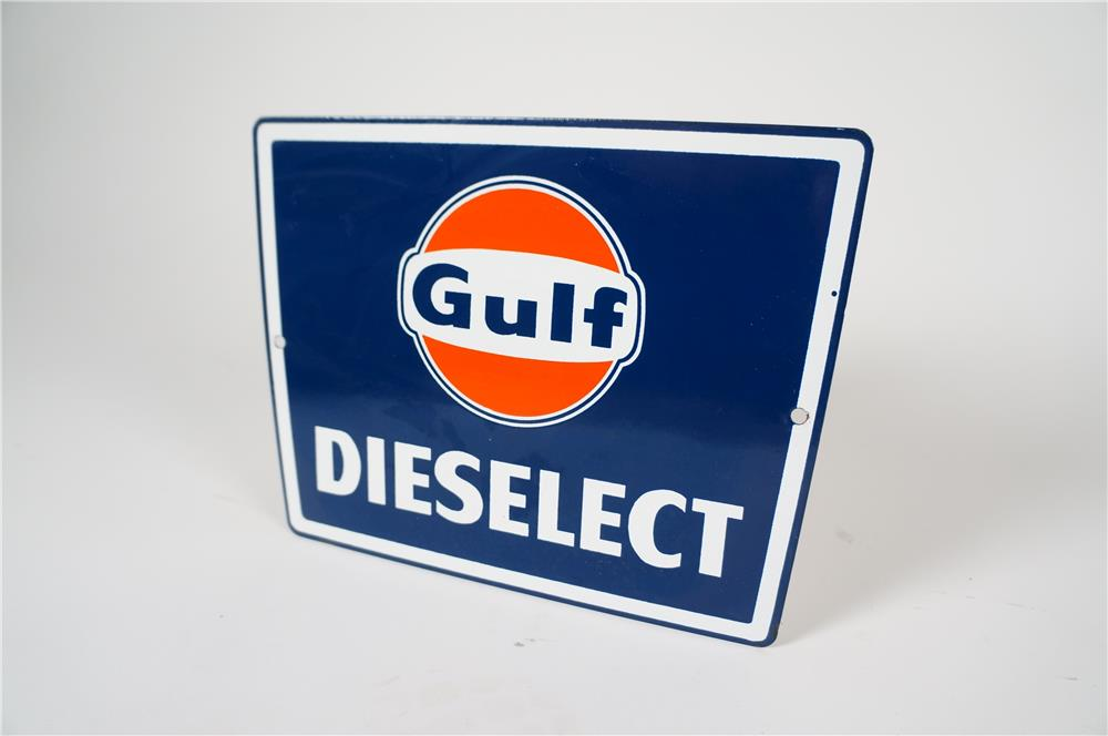 Extremely scarce late 1950s-early 60s Gulf Dieselect single-sided porcelain pump plate sign. - Front 3/4 - 184580