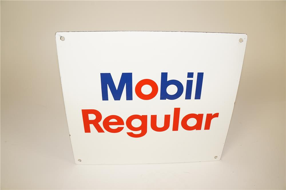 1960s Mobil Regular Gasoline single-sided porcelain pump plate sign. - Front 3/4 - 184581