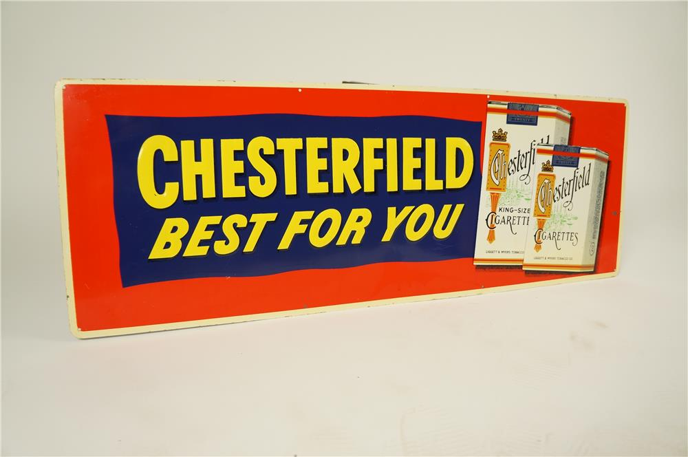 "1950s Chesterfield Cigarettes ""Best for You"" single-sided embossed tin sign with cigarette pack graphics. - Front 3/4 - 184582"