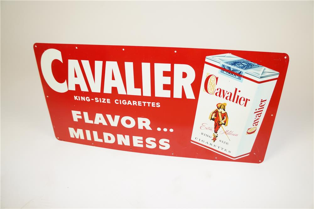 """1950s Cavalier """"King-Size"""" Cigarettes single-sided tin sign with cigarette pack graphic. - Front 3/4 - 184584"""