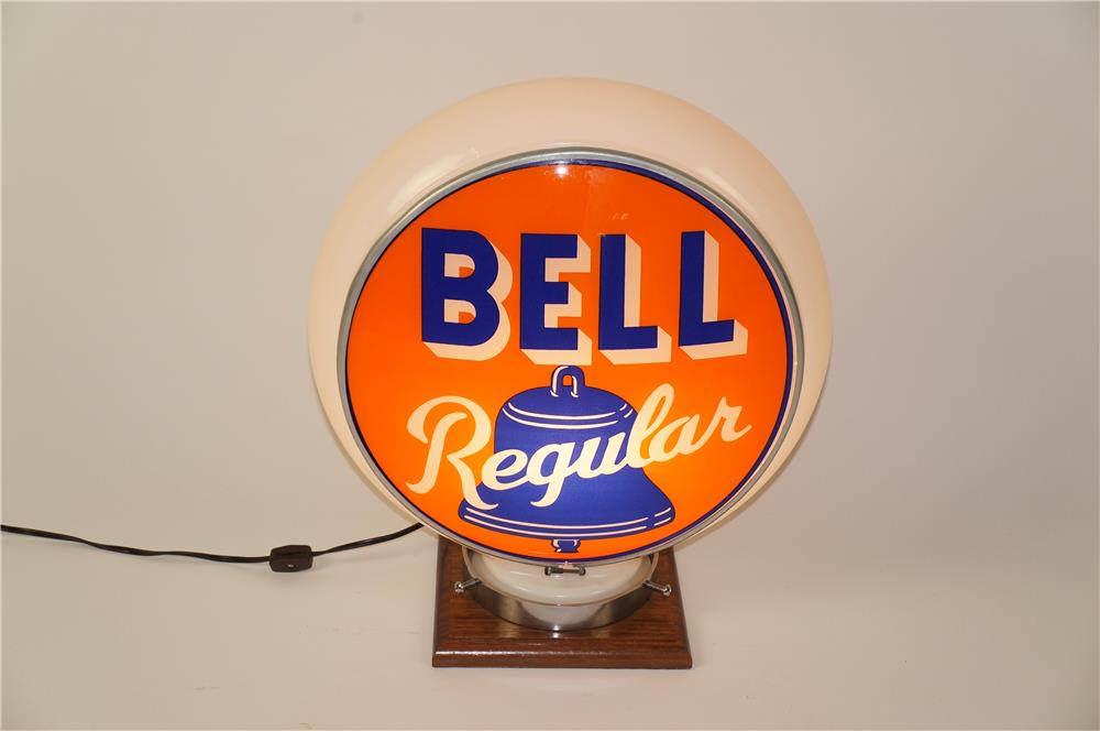 Lot #5853 Striking 1940's Bell Gasoline Gill bodied milk glass gas pump globe.