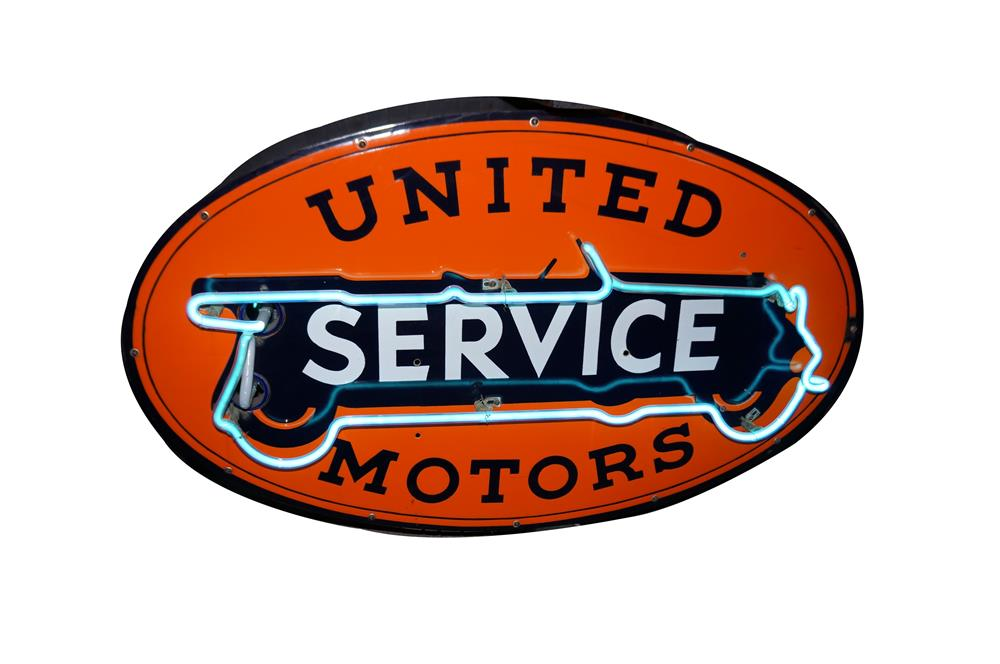 Stylish 1930's United Service Motors double-sided porcelain dealership sign with touring car graphics. - Front 3/4 - 184587