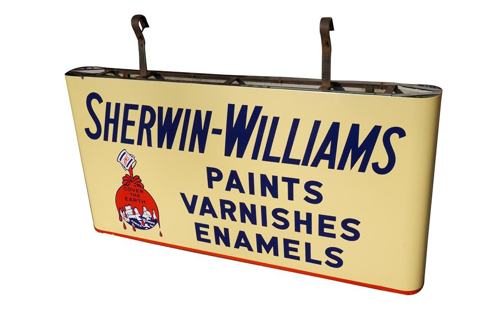 Superb 1940's Sherwin Williams Paints double-sided porcelain bull nosed sign with original hanging brackets. - Front 3/4 - 184588