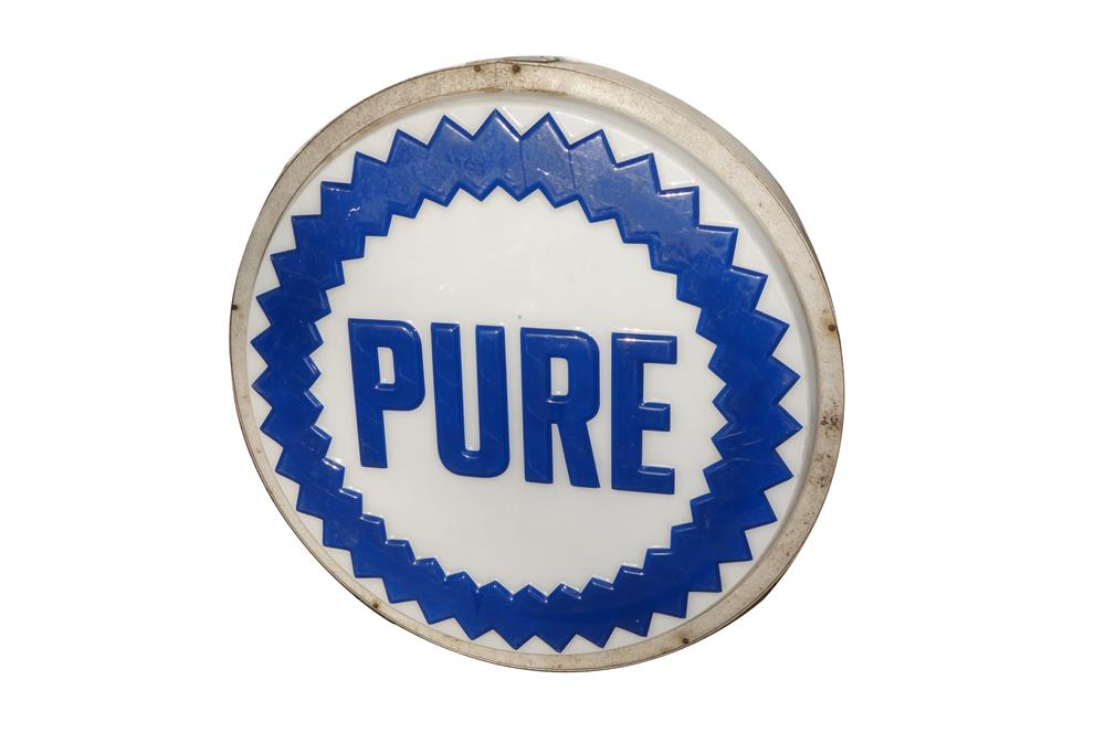 Choice 1960's Pure Oil single-sided service station light-up sign with three-dimensional saw-tooth logo. - Front 3/4 - 184590