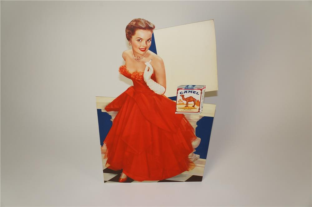 Good looking 1950s Camel Cigarettes die-cut display cardboard featuring a stunning model in formal gown. - Front 3/4 - 184593