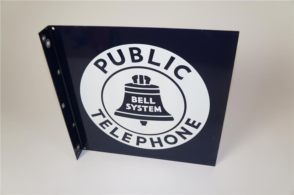 Very clean 1940s-50s Bell Telephone double-sided porcelain flange sign with bell logo. - Front 3/4 - 184595