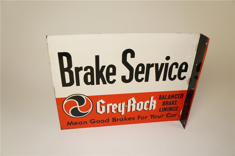 Seldom seen Grey-Rock Brake Service double-sided tin flange sign. - Front 3/4 - 184596