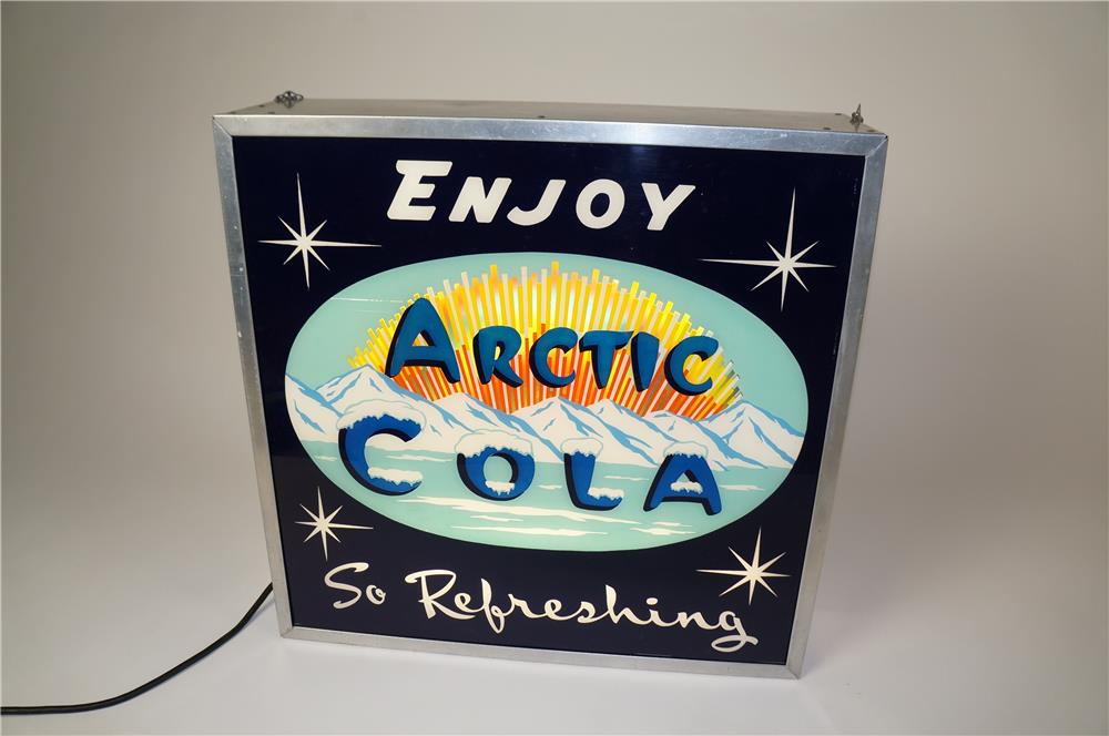 "Phenomenal 1950s Arctic Cola ""Enjoy-So Refreshing"" light-up soda fountain sign with animation wheel. - Front 3/4 - 184598"