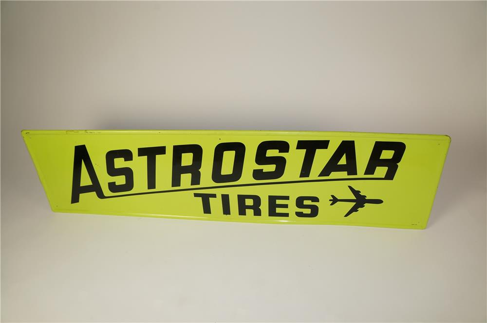 Neat 1970 Astrostar Tires single-sided self-framed tin sign with airplane logo. - Front 3/4 - 184600