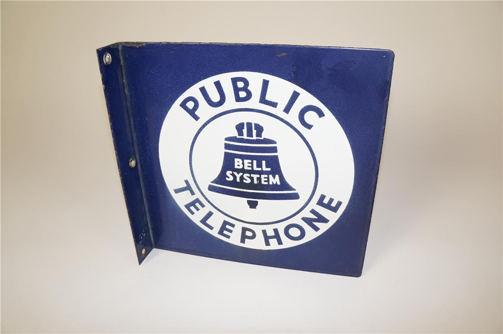 1940's-50s Bell Telephone double-sided porcelain flange sign with Bell logo. - Front 3/4 - 184601