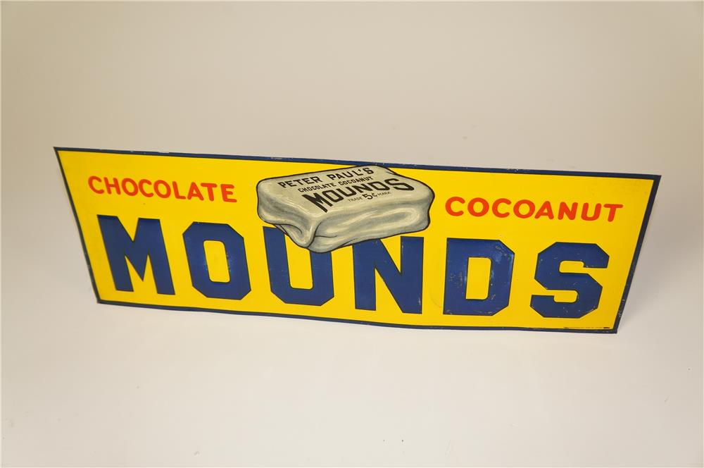 Museum quality 1920s Mound's Chocolate - Cocoanut Bar single-sided embossed tin sign with graphics. - Front 3/4 - 184602
