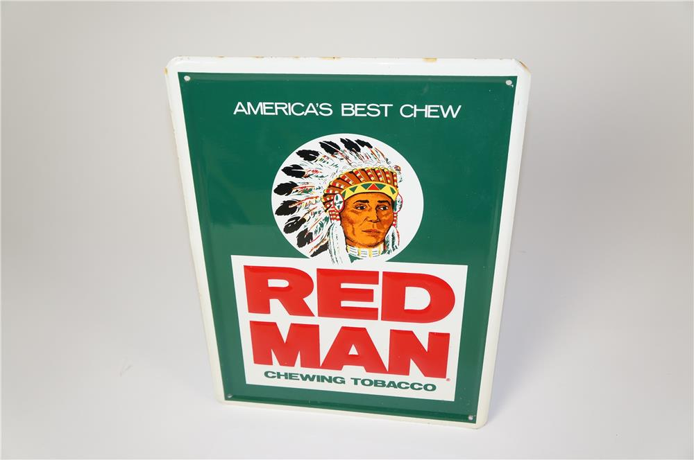 NOS Red Man Chewing Tobacco single-sided embossed tin service station/general store sign with Chieftain logo. - Front 3/4 - 184603