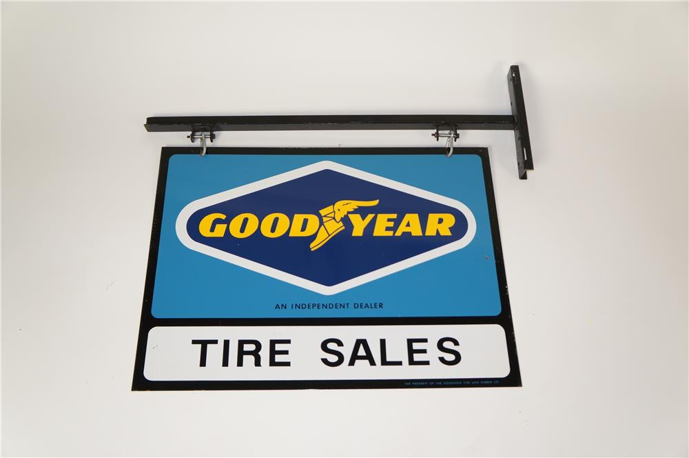 Sharp NOS Goodyear Tire Sales double-sided tin sign with original hanging bracket. - Front 3/4 - 184605