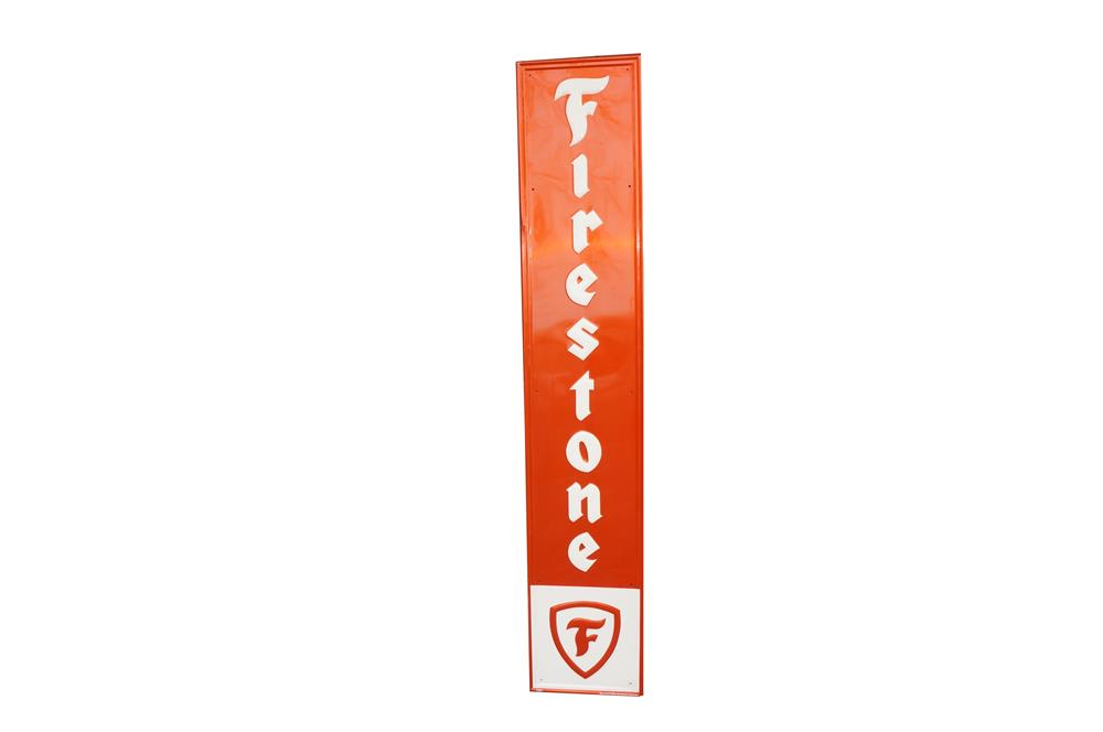 NOS 1960s Firestone Tires vertical self-framed tin automotive garage sign. - Front 3/4 - 184606