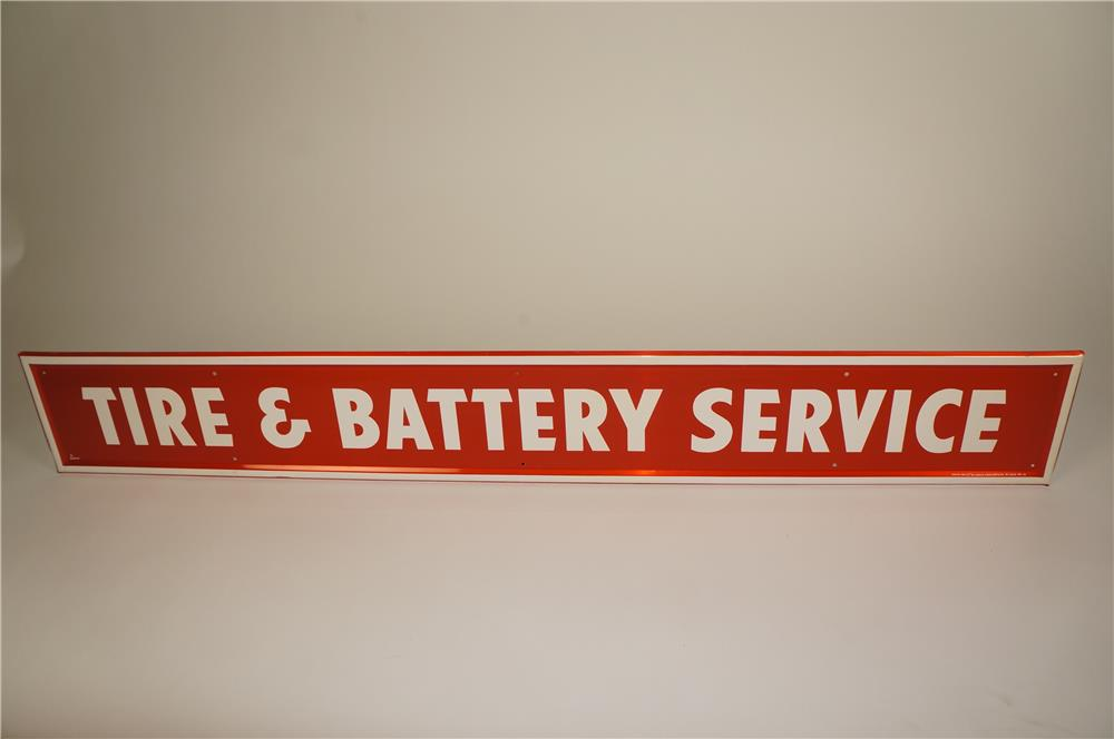 """NOS 1960s Firestone """"Tire and Battery Service"""" horizontal self-framed tin automotive garage sign. - Front 3/4 - 184608"""
