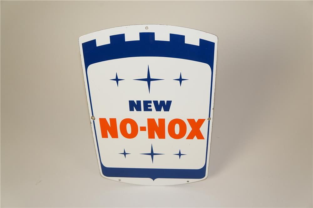 Sharp 1960s Gulf New No-Nox single-sided porcelain gas pump plate sign. - Front 3/4 - 184611